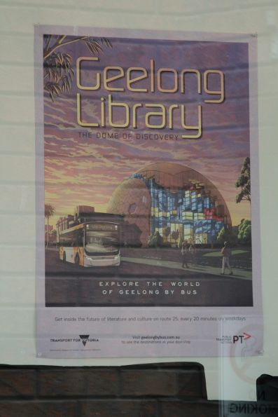 'Geelong Library: the dome of discovery' poster in the 'Explore the World of Geelong by Bus' series