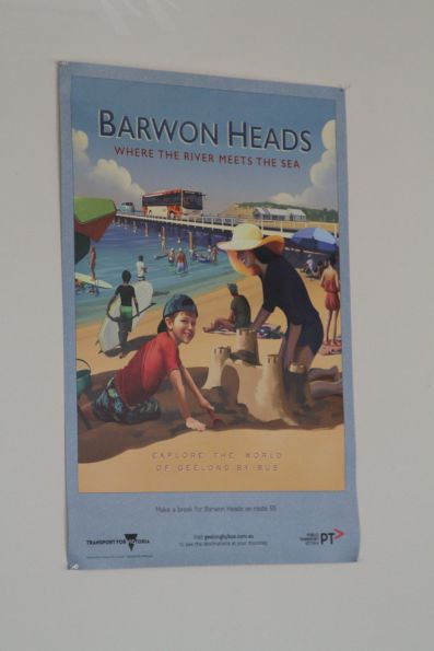 'Barwon Heads: where the river meets the sea' poster in the 'Explore the World of Geelong by Bus' series