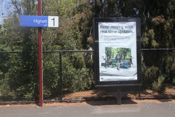 'Keep moving with real time updates' poster at Highett station