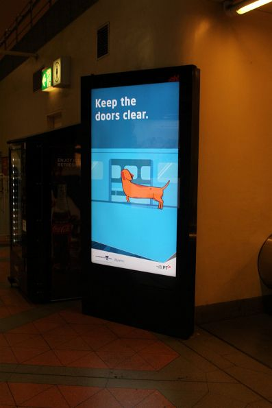 'Keep the doors clear' campaign video on the screens at Flagstaff station