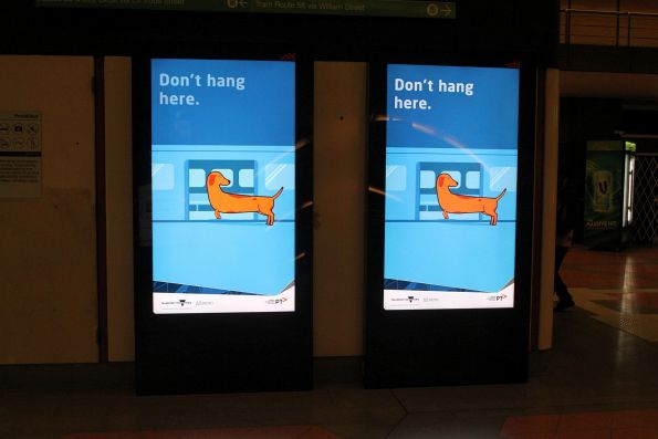 'Don't hang here' campaign video on the screens at Flagstaff station