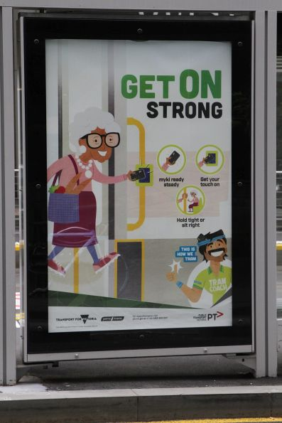 'Get on strong' poster from the 'Tram Coach' campaign