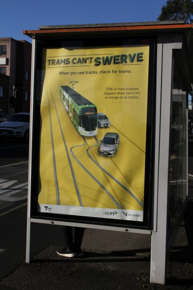 'Trams can't swerve' posted on a Hoddle Street bus stop