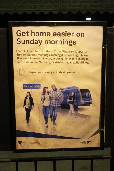 'Get home easier on Sunday mornings' poster promoting extended opening hours for Southern Cross Station from 1 December 2019