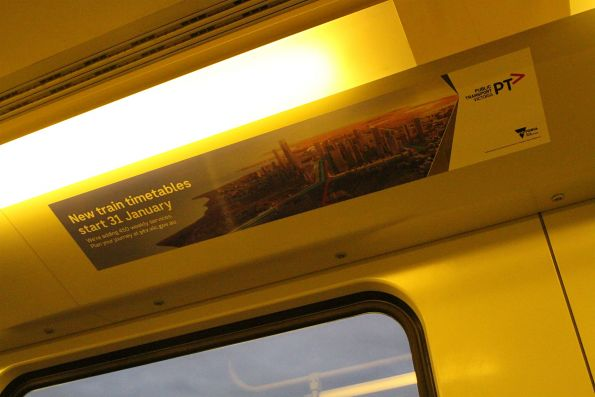 'New train timetables start 31 January' sticker onboard a Siemens train