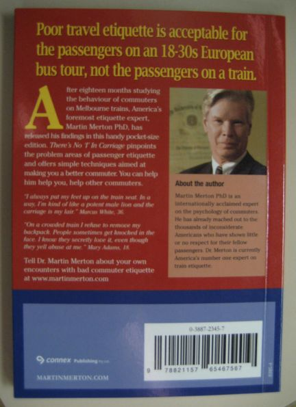 Back cover of Martin Merton's  ''There's no I in Carriage'' book