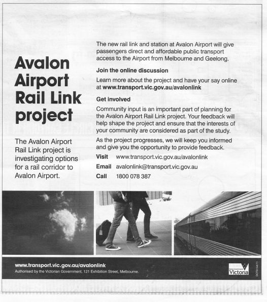 Avalon Airport Rail Link project flyer