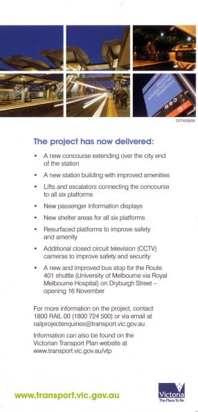 Back side of the North Melbourne redevelopment 'thank you' flyer