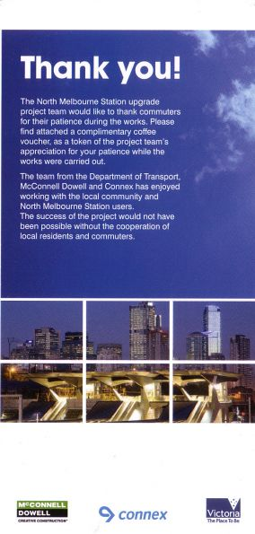 Front of a flyer given to passengers at North Melbourne thanking them for putting up with the construction works