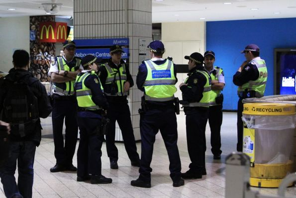 How many PSOs does it take to guard Melbourne Central Station?