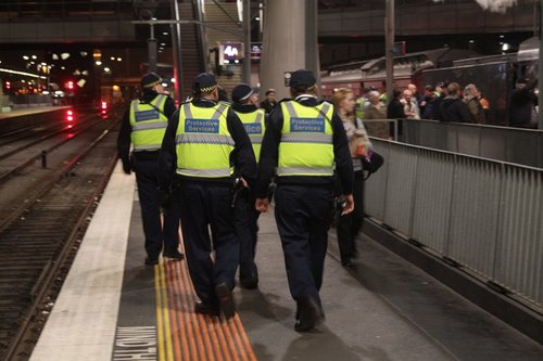 Three PSOs and a police officer on the beat at Southern Cross Station