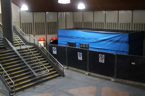 New 'Baillieu Box' under construction on the Flagstaff station concourse