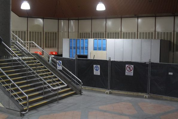 'Baillieu Box' still under construction on the Flagstaff station concourse