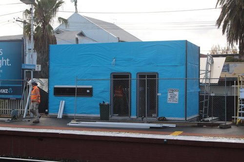 What is officially called a 'handover room' under construction on platform 1 at Essendon