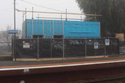 'Baillieu Box' under construction on the down platform at Newmarket