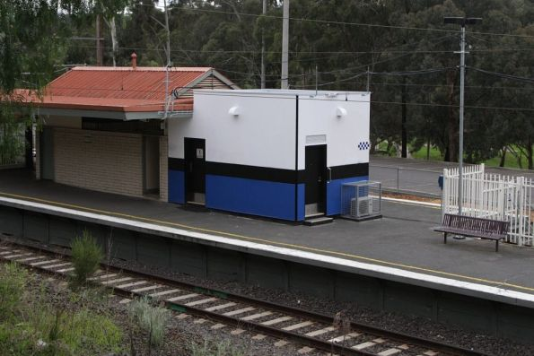 Completed 'Baillieu Box' tacked onto the station building at Greensborough