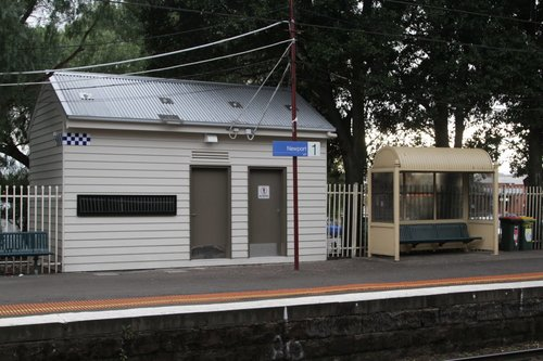 PSO pod at Newport station: standard layout but with a gable roof and weatherboard cladding
