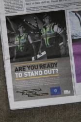 Protective Services Officer recruitment advertisement in the mX newspaper