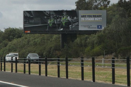 Protective Services Officer recruitment billboard beside the Eastlink freeway