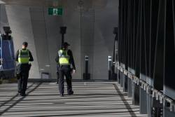 Protective Services Officers still on the beat at West Footscray station, despite the platforms being closed for RRL works