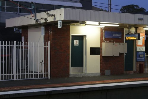 PSO pod inside the disused station building at Blackburn platform 3