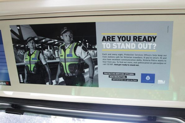 Protective Services Officer recruitment poster onboard a tram