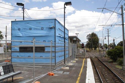 PSO pod under construction on the platform at Keon Park