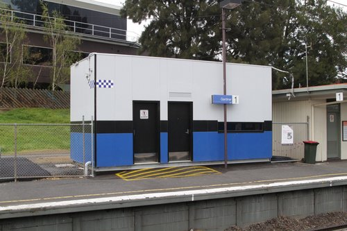 PSO pod at Gardiner station, relocated to platform 1 to make room for the grade separation works