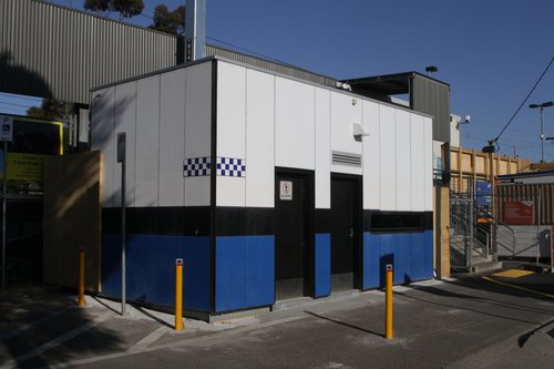 PSO pod at St Albans station, relocated to platform 1 to make room for the grade separation works