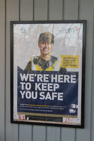 'We're here to keep you safe' poster promoting Protective Service Officers at railway stations
