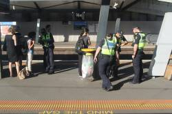 Protective Services Officers at work at North Melbourne station
