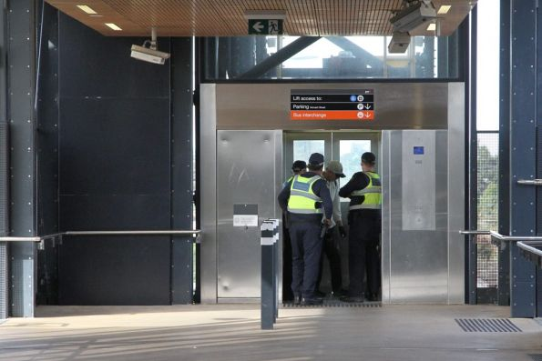 PSOs hold the lift at Sunshine station for five minutes, while talking to a member of the public