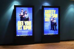 'See you at 6pm' and 'Safety you can see' advertisements promoting Protective Services Officers at Melbourne Central station