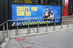 'Safety you can see' billboard at Footscray station
