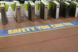 'Safety you can see' stickers at Footscray platform 2 and 3