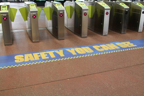 'Safety you can see' stickers at Footscray station
