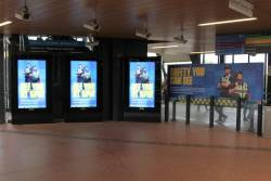 'Safety you can see' billboard and advertisements at Footscray station