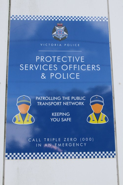 Signage spruiking Protective Services Officers on the PSO pod at Werribee station