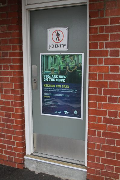 'PSOs are now on the move' poster on the PSO pod at Middle Footscray station