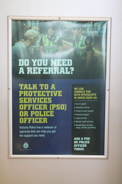 'Do you need a referral' poster advertising the other services PSOs and police officers can provide
