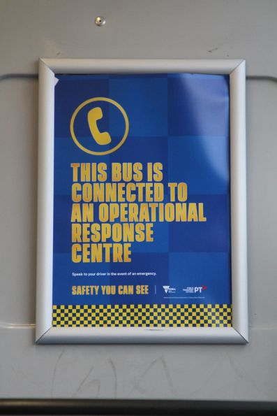'This bus is connected to an operational response centre' poster onboard a Transdev bus