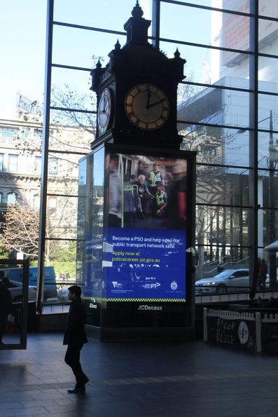 Protective Services Officers recruitment advertisement in the loop beneath the Water Tower Clock at Southern Cross Station