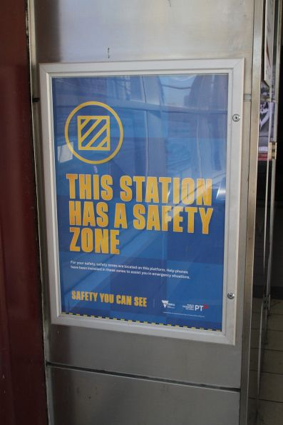 'This station has a safety zone' poster at Flinders Street