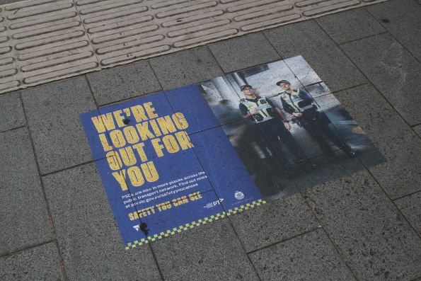 'We're looking out for you' advertisement for Protective Services Officers at Geelong station