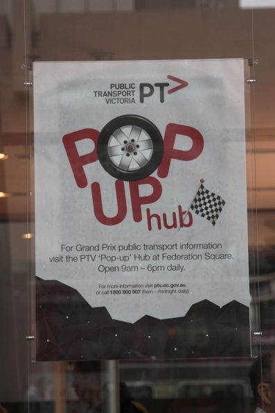 Public Transport Victoria 'Pop Up Hub' at Federation Square for the Grand Prix