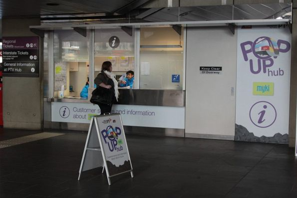 'Pop up PTV Hub' at Southern Cross Station for myki queries during the V/Line rollout