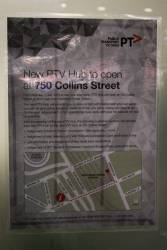 Notice of the new 'PTV Hub' at 750 Collins Street, displayed at the former Central Pass Office