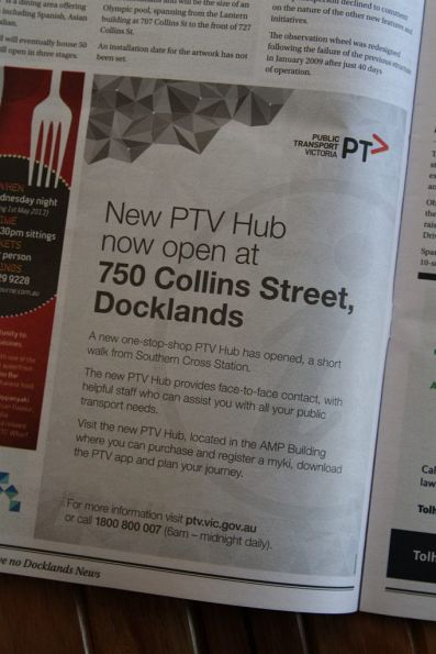 Advert in the 'Docklands News' promoting the new PTV Hub at Docklands