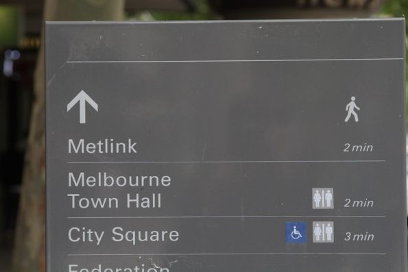 Directions on Swanston Street to the former Metlink store at Melbourne Town Hall