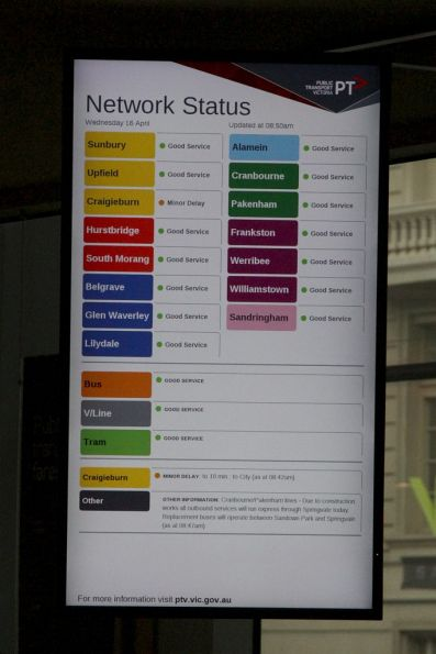 Rainbow coloured 'Network Status' board installed at the PTV Hub at Southern Cross